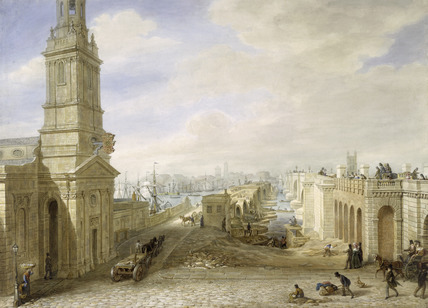 A View of the Northern Approach to London Bridge -Taken on the spot, June 1830
