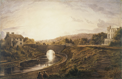 View on the Regents Canal looking towards Hampstead: 1827