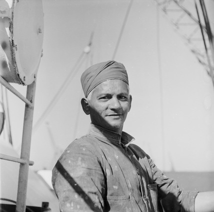 An Indian 'lascar' seaman at King George V Dock: 1959