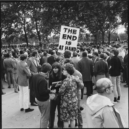 A crowd at Speakers' Corner, Hyde Park: 1970