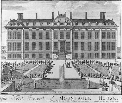 The north prospect of Montague House: 18th century