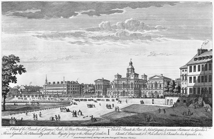 A View of the Parade in St James's Park, The New Buildings for the Horse Guards, The Admiralty with His Majesty going to the House of Lords: 1753