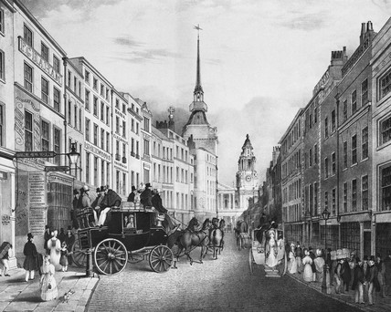 The Star of Cambridge, leaving the sauvage, Ludgate Hill. 19th century