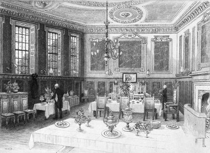 Interior view of the dining hall at the New Inn: 1899