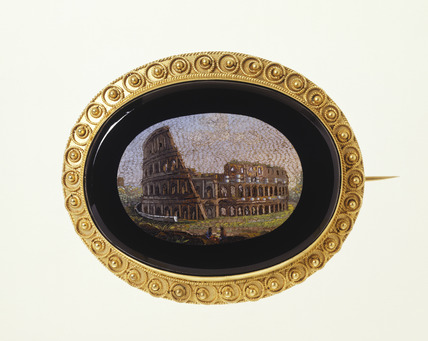 Jet brooch with view of the Coliseum: 19th century