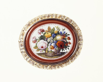 Mosaic brooch set in a gold frame: 19th century