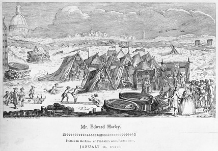 Frost fair on the Thames: 1740