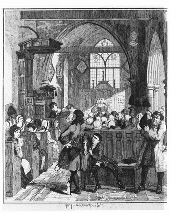 Jack Sheppard committing a robbery in Willesden Church: 1839