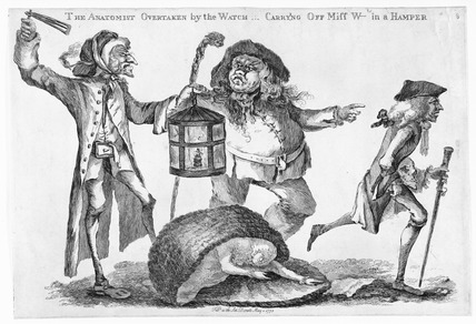 The Anatomist overtaken by the watch in carry'ng off Miss W--ts in a Hamper: 1773