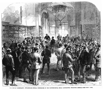 Swearing in Special Constables in Woolwich Arsenal: 1868