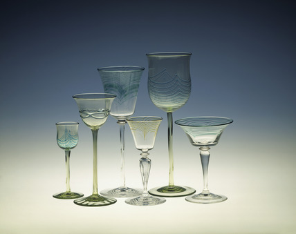 Selection of Whitefriars glasses: late 19th - early 20th century