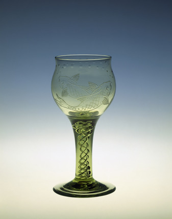 Goblet in made Sea Green glass: 20th century
