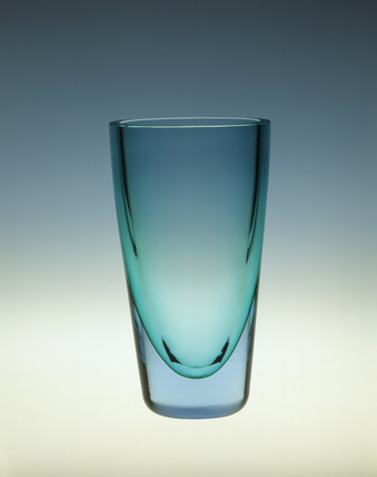 Whitefriars vase in Aquamarine glass: 20th century