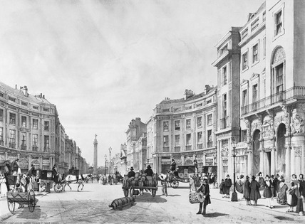 Regent Street looking towards the Duke of York's column: 1842