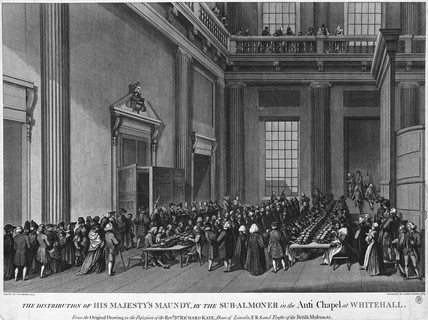 The distribution of His Majesty's Maundy, by the Sub-Almoner in the Anti [sic] Chapel at Whitehall: 1789