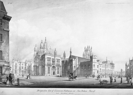 Perspective View of Commons' Entrance in New Palace Yard and Speaker's House: 1835