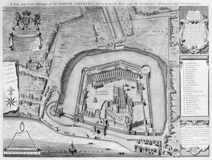 A True and Exact Draught of the Tower Liberties, survey'd in the Year 1597 by Gulielmus Haiward and J. Gascoyne: 1742