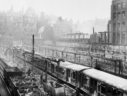 Bomb damage around Moorgate Underground Station: 1940