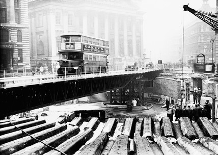 Emergency bridge at Bank underground station: 1941