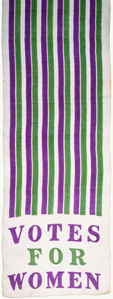 Suffragette motor scarf of white Japanese silk: 1908