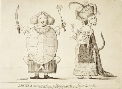 Brutes Humaniz'd in Alderman Turtle and Singe his wife: 1775