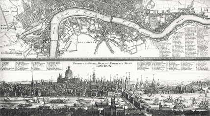 Prospect and map of London, 1710