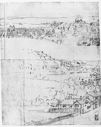 Sheet two of Wyngaerde's View of London, c. 1550: 1881