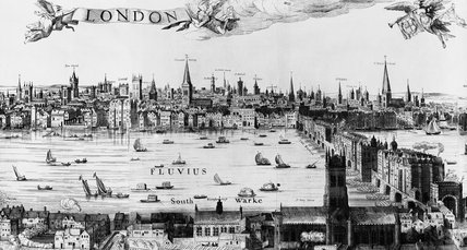 Centre right detail of Visscher view of London: 1846
