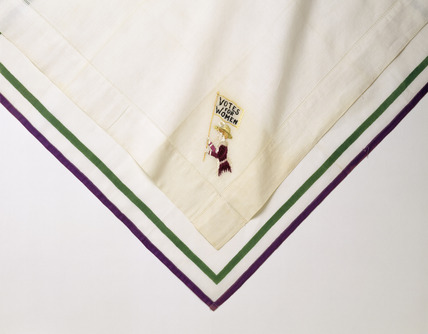 Detail of a suffagettes' handkerchief: 20th century