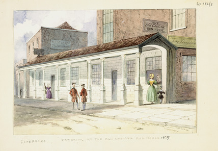 Exterior of the Old Chelsea Bun House: 1839