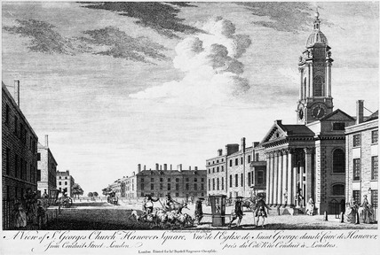 A View of St George's Church, Hanover Square from Conduit Street, London: 18th century