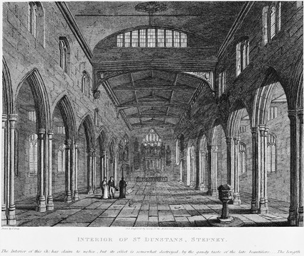 Interior of St. Dunstan's, Stepney: 1818