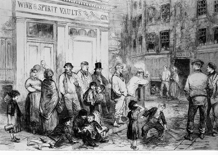 Scene in a London street on a Sunday morning: 1850