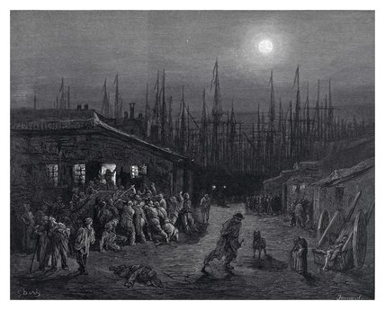 The docks - night scene: 1872