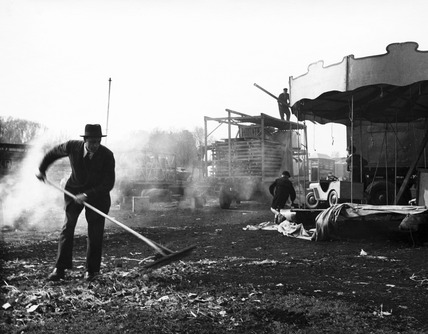 Clearing up after the fun fair, Hampstead: 20th century
