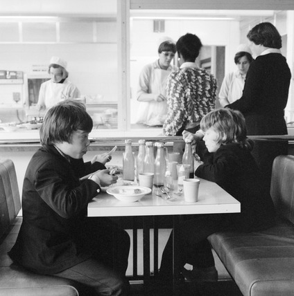 Pupils eating lunch in school cafeteria: 1977