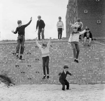 Children Jumping Off Wall 1965