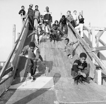Children at the Hackney Marshes adventure playground: 1978