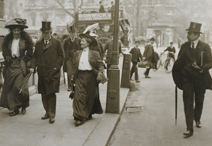 The Suffragettes Henrietta Helena Olivia Robarts Fargus and Catherine Corbett attempting to speak to the Prime Minister, Herbert Asquith in Downing Stree