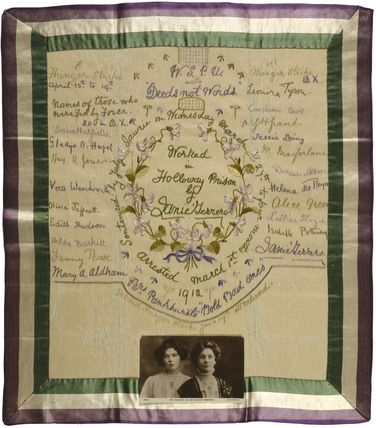 Embroidery by Janie Terrero made in Holloway Prison:1912