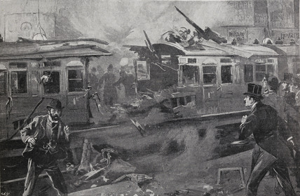 Bombed carriages Aldersgate station: 1897