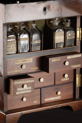 Medicine chest and bottles: Circa 1890