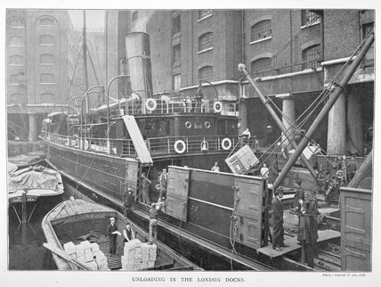 Unloading in the London Docks: c.1900