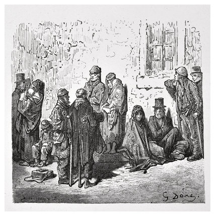 Illustration of the London poor and homeless published in 'London, a Pilgrimage': 1872,