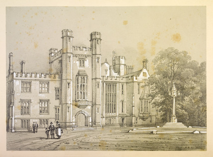 View of the main courtyard and entrance gate of Lambeth palace
