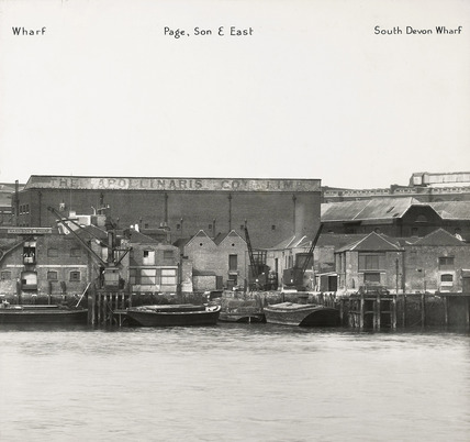 Thames Riverscape showing Page, Son and East, and South Devon Wharf: 1937