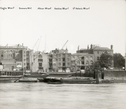 Thames Riverscape showing Eagle, Brewers, Albion, Hasties and St Helen's Wharves: 1937
