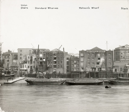 Thames Riverscape showing Union Stairs, Standard Wharves and Watson's Wharf: 1937