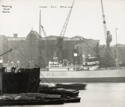 Thames Riverscape showing Wapping Dock Stairs and Lower Gun Wharves : 1937
