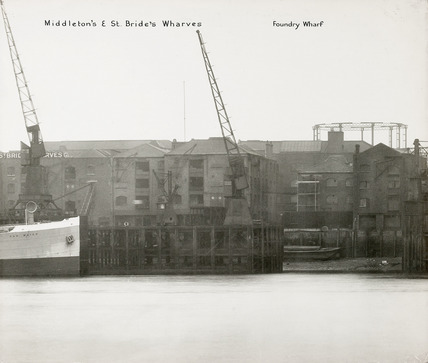 Thames Riverscape showing Middleton & St. Brides Wharves, and  Foundry Wharf: 1937